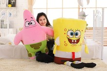 1pcs 40CM  Sponge Bob Baby Toy Spongebob And Patrick Plush Toy Soft Anime Doll For Kids Toys Cartoon Figure Cushion high quality(China (Mainland))