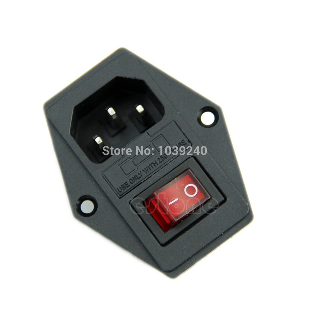 J34 Free Shipping 1Pc New Black Red AC 250V 10A 3 Terminal Power Socket with Fuse Holder  <br><br>Aliexpress