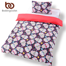 BeddingOutlet New Sugar Skull Bedding Duvet Cover Set Twin Full Queen Sugar Skull Halloween Bedding Set Reach to Most Country(China (Mainland))