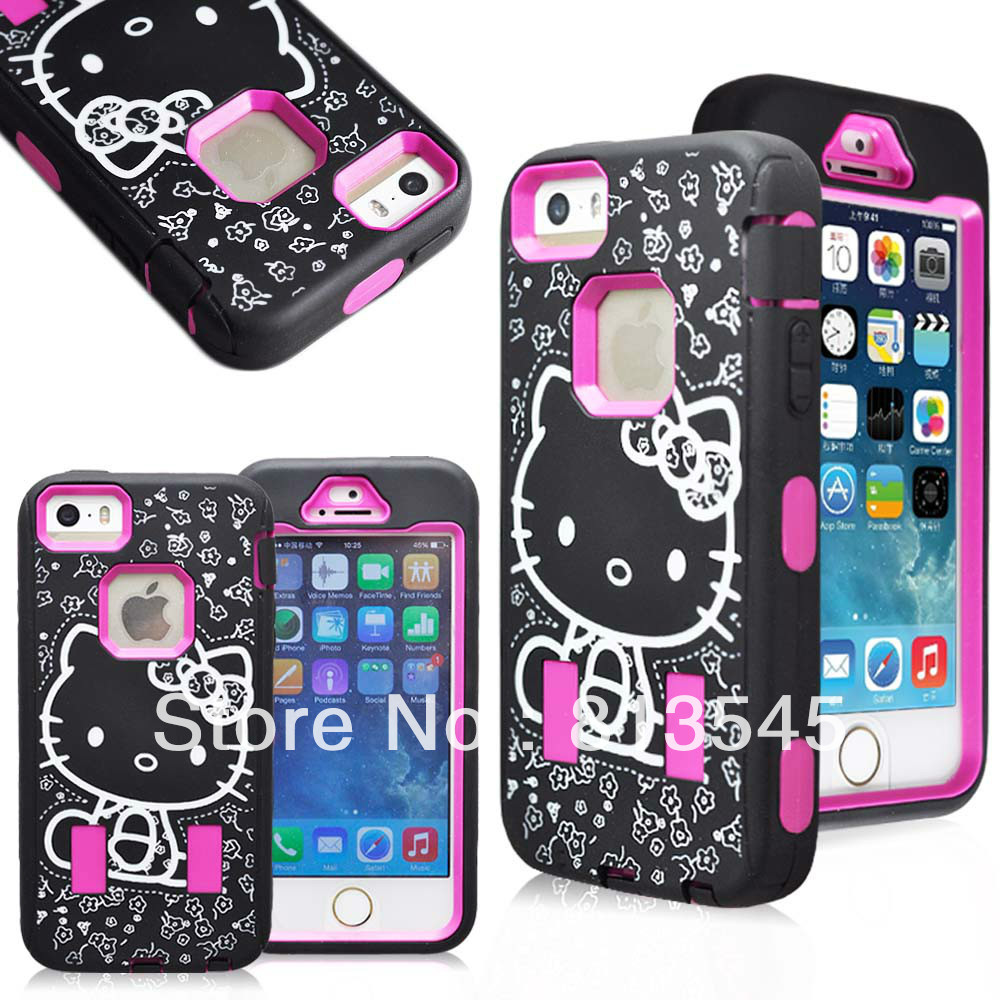 Hot sale Nice looking hello kitty design combo 2 in 1 rubber case for Iphone5G/5S(China (Mainland))
