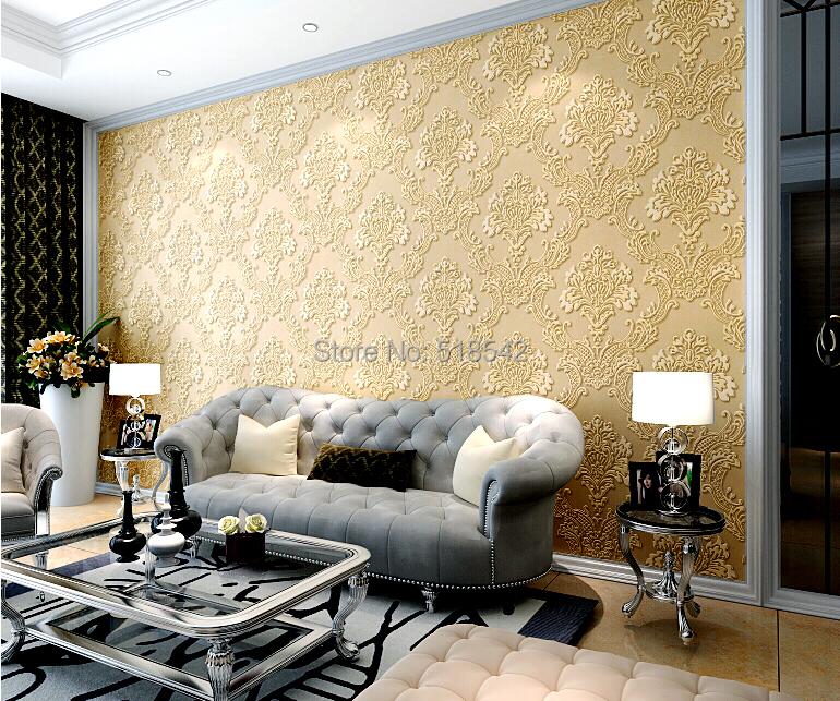 Wholesale Vintage Luxury Damask Textured Embossed Flocking Roll ...