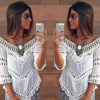 HONEY MODA new fashion women white blouse hollow out blouse patchwork lace sexy blouse