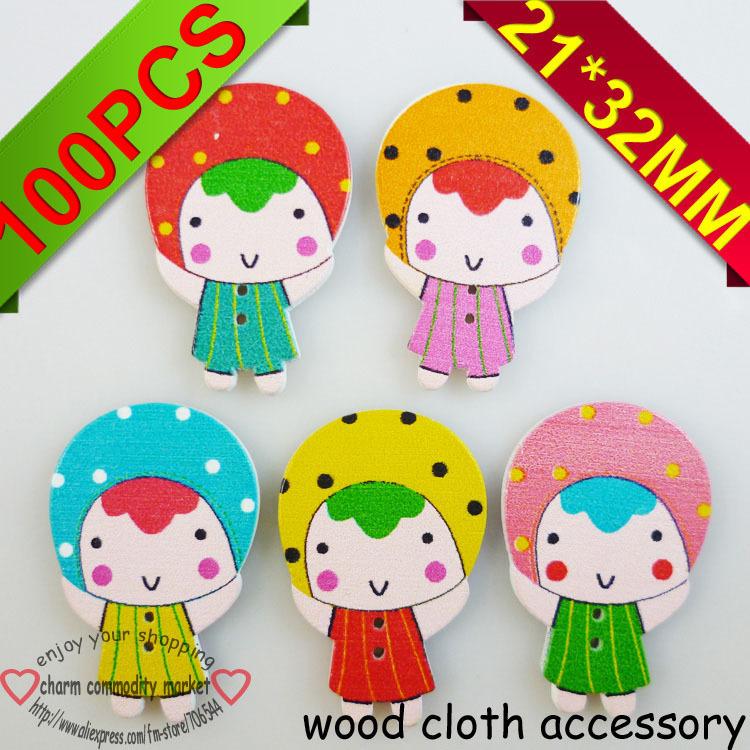 100PCS mixed color lovely baby wood cartoons clothes accessory charms WCF-057-1M(China (Mainland))