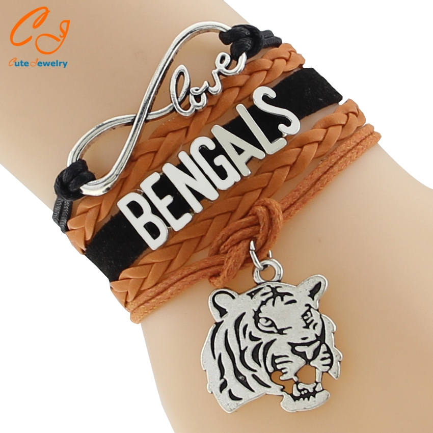High Quality Infinity Love NFL Cincinnati Bengals Football Bracelet Black Orange White Custom Any Styles/Themes(China (Mainland))
