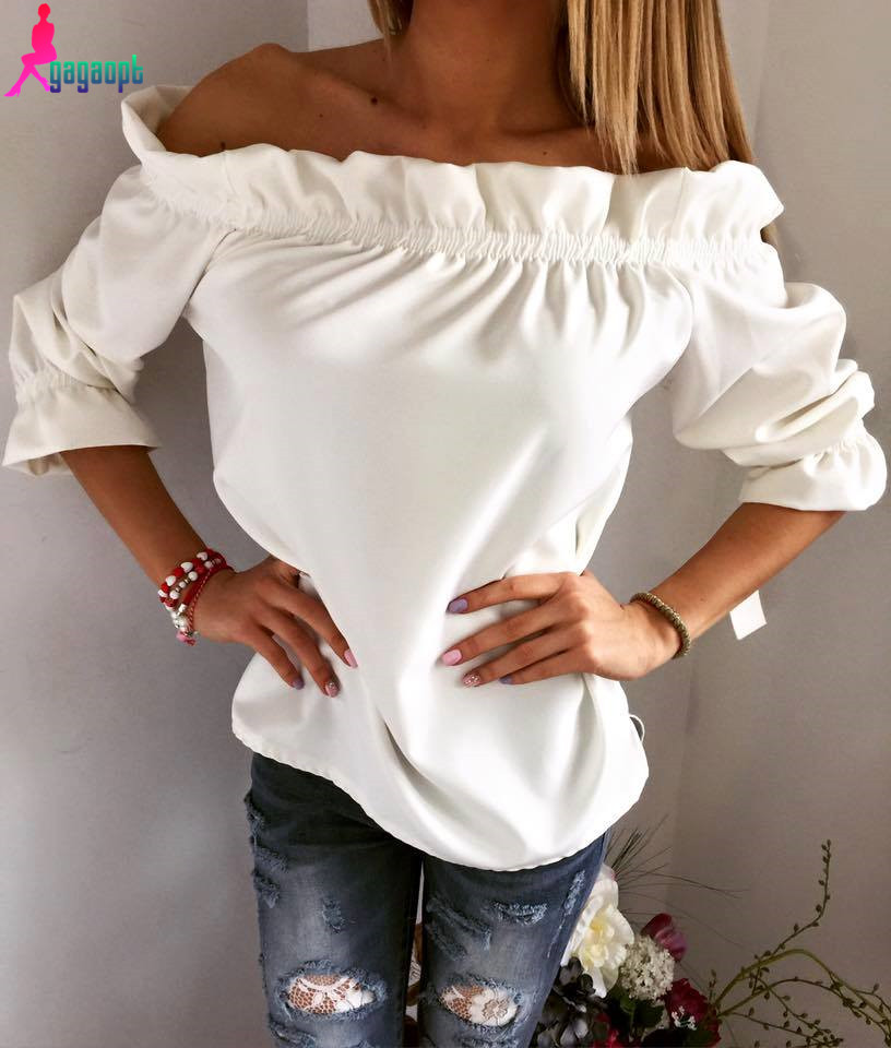 gagaopt High Quality 2016  New Women Fashion Solid Casual T-shirt Female Sexy Off Shoulder  Summer Tops T-shirt  Free ShippingОдежда и ак�е��уары<br><br><br>Aliexpress