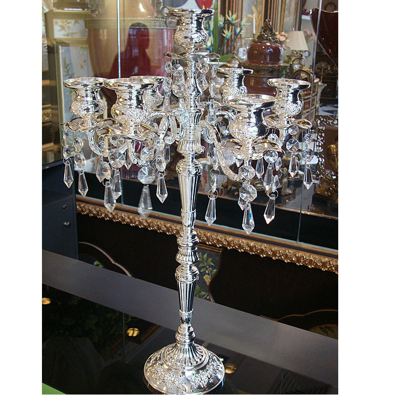 2016 new home decoration silver plated candelabra embossed alloy decorative crystal candle holders retro wedding candlesticks(China (Mainland))