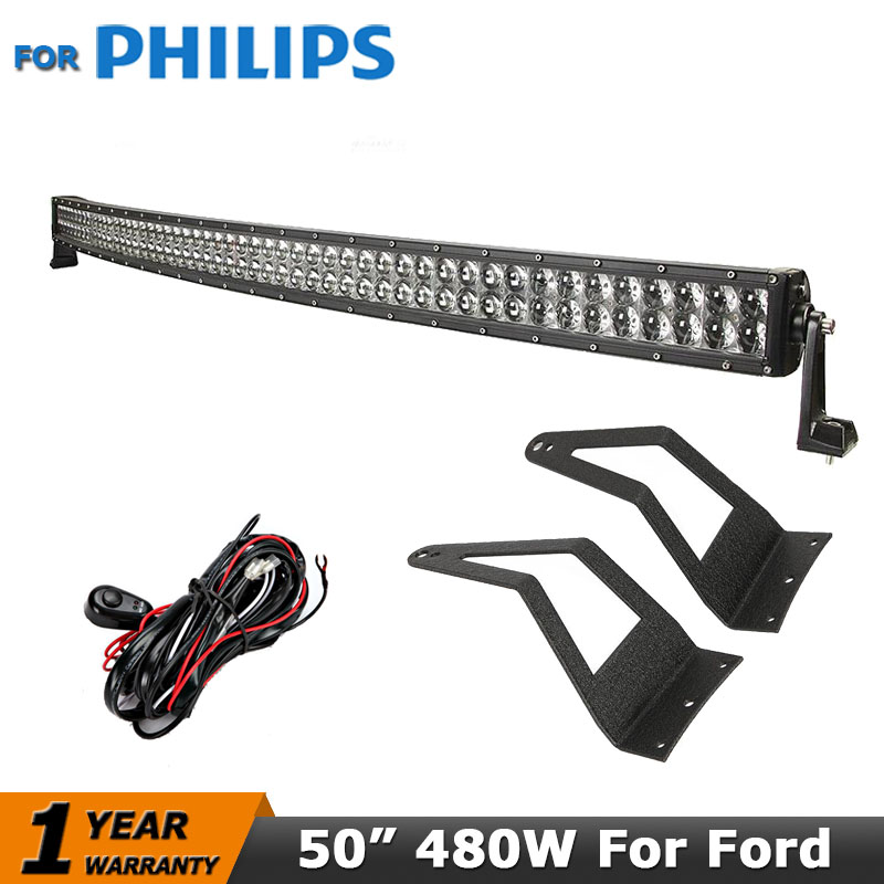 50 inch Curved Offroad Led Light Bar for PHILIPS 480W Mount Brackets For Ford F250 F350 F450 Super Duty Excursion