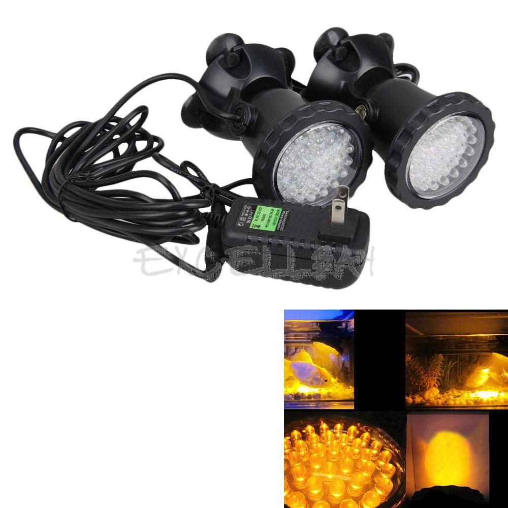 2IN1 Yellow 1 5W 36LED Submersible Spot Light Aquarium Pool Lamp Waterproof E1Xc