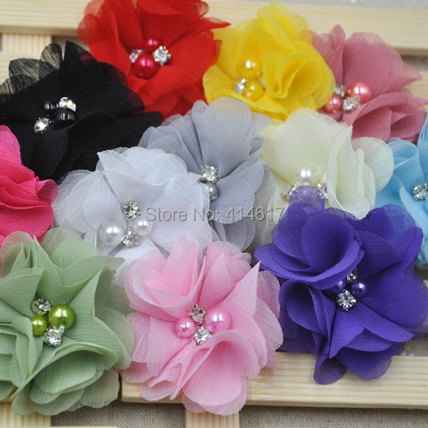 6 pcs Mini Chiffon Flowers With Pearl Rhinestone Center For Hair Clips Lace Flower For Baby Hair Accessories A284(China (Mainland))