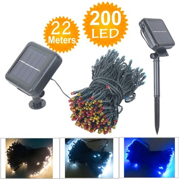 22M 200 LED Solar Lamps LED String Fairy Lights Garlands Holiday Garden Christmas Solar Lights Party Decoration Outdoor