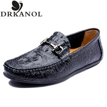 2016 new design genuine leather flat shoes men loafers crocodile style round toe slip on men flats comfortable casual shoes(China (Mainland))
