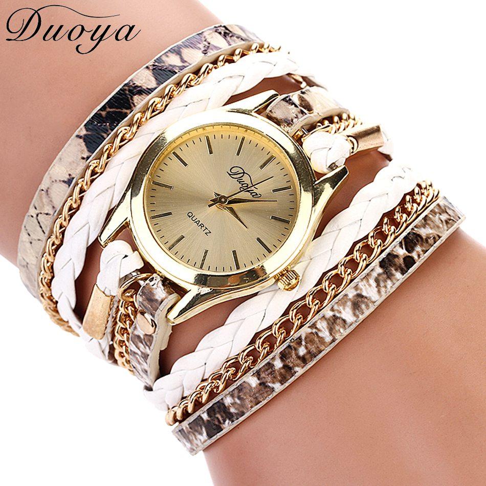 Duoya Brand Quartz Watches Women Gold Geneva Ladies Dress Bracelet Wristwatch Woven Leopard Luxury - 77 Fashion store