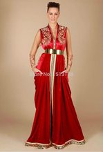 Elegant Kaftan A-Line Evening Dresses New Fashion Formal Gowns 2016 Unique Design V Neck Golden Applique Red Evening Dress 762(China (Mainland))