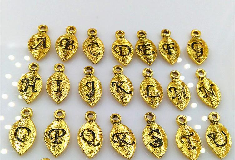 7*15mm alphabet charm beads, Hot Charms Beads Leaf Letter Charms Pendant Gold and Silver Color