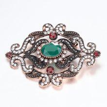 Kinel Nuovo Arrivato Brooch Dell'annata Per Le Donne Oro Antico Mosaico di Cristallo Fiore Spilla Partito Accessori Turco Gioielli(China)