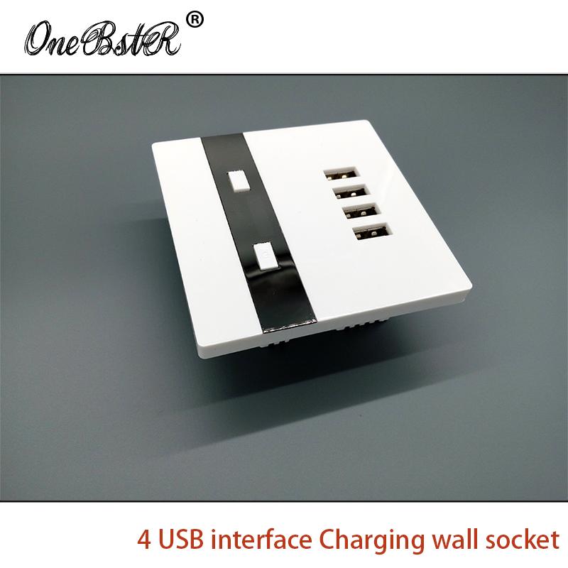 Frees Shipping DC 5V 3000mA 4 USB Charging Wall Socket 110-250V 86 Interfaces Wall Socket USB Switch Panel Hotel School Special(China (Mainland))