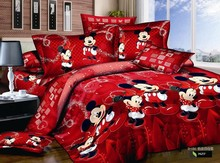 Cartoon queen mickey mouse bedding/100% cotton 4pcs bedding set (duvet cover bed sheet and pillow case)queen(China (Mainland))