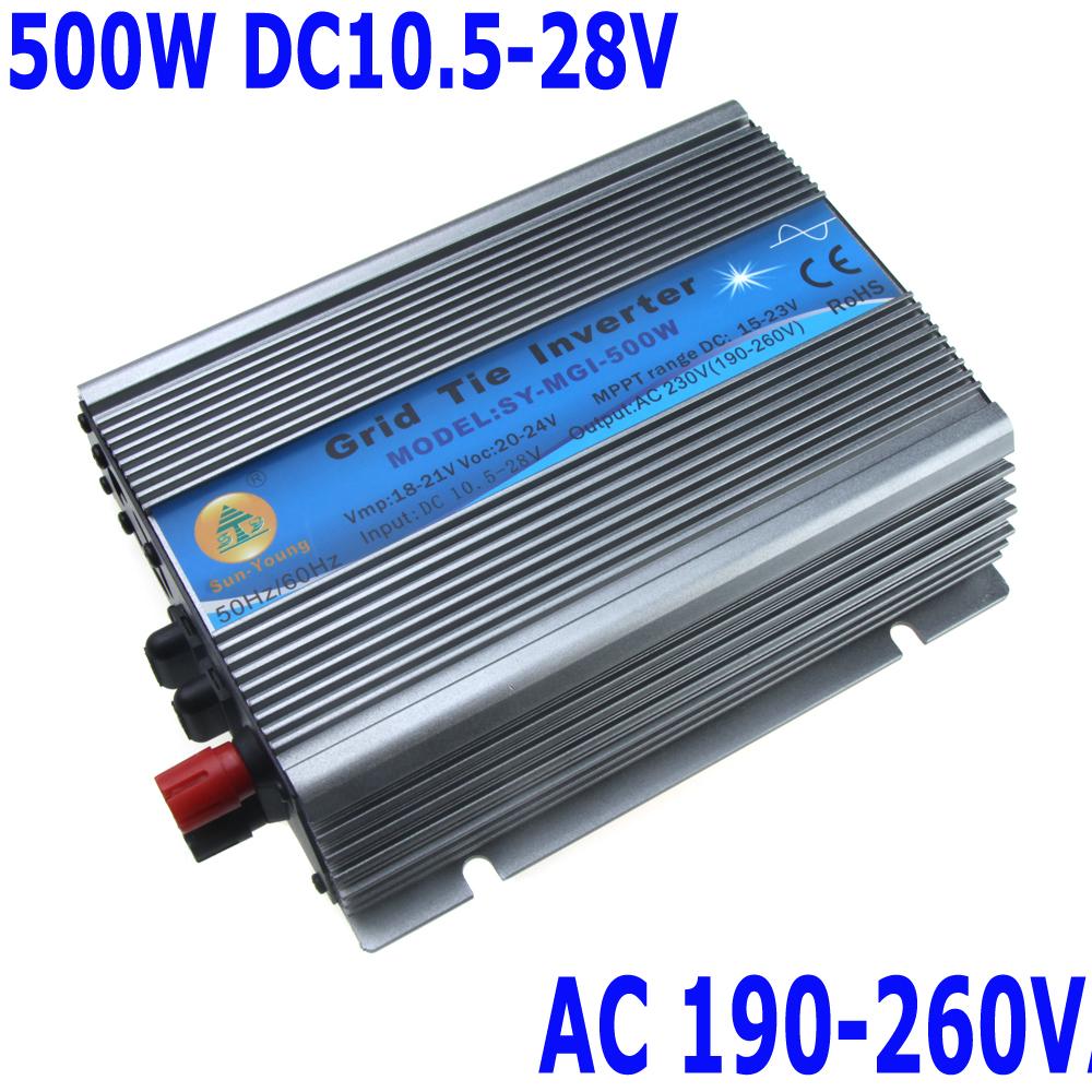 500W Watt Micro Grid Tie Inverter Accept DC 10.5-28V AC Output 190-260V Solar Power Pure Sine Wave(China (Mainland))