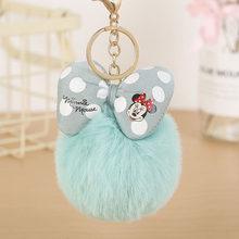Venda quente imitado pele de coelho mickey pompon bola chaveiro para as mulheres para o carro ou saco chaveiro jóias titular da chave b001(China)
