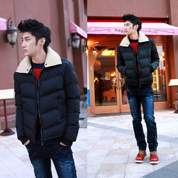 Male wadded jacket 2012 winter slim coat thickening cotton-padded jacket turn-down collar thermal male cotton-padded coat