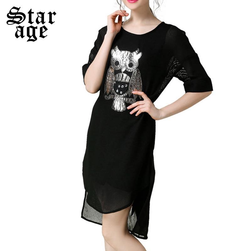 S~XXXXXL Women Black Mesh Dress 2016 Brand Stylish Owl Patches High-Low Midi Dresses Big Size Half Sleeve Clothing 2122(China (Mainland))