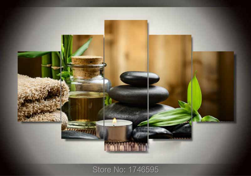 Big 5pcs modern home decor living room decor spa stone bamboo candles wall art picture printed - Decoratie spa ...