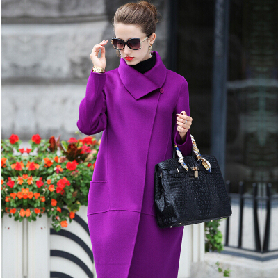 2015 новые зимняя куртка женщин куртка двойной тонкий длинный шерстяное пальто