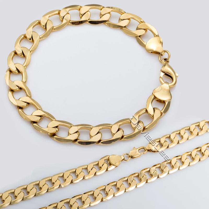 jewelry set mens flat cut curb cuban necklace bracelet