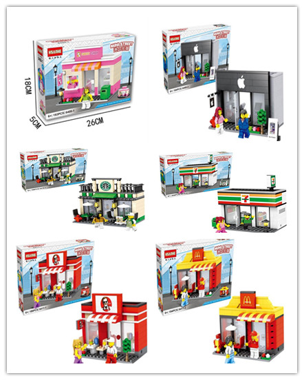 City Series Mini Street Model Store Shop with Minifigure McDonald`s Building Block Toys Hsanhe(China (Mainland))