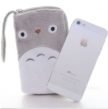 Soft Gray Friends Totoro Plush Lanyard Coin Purses Gray Wallet Pouch Card Bag 6*4Inch For Iphone 5/5s 6 Brand New # LN