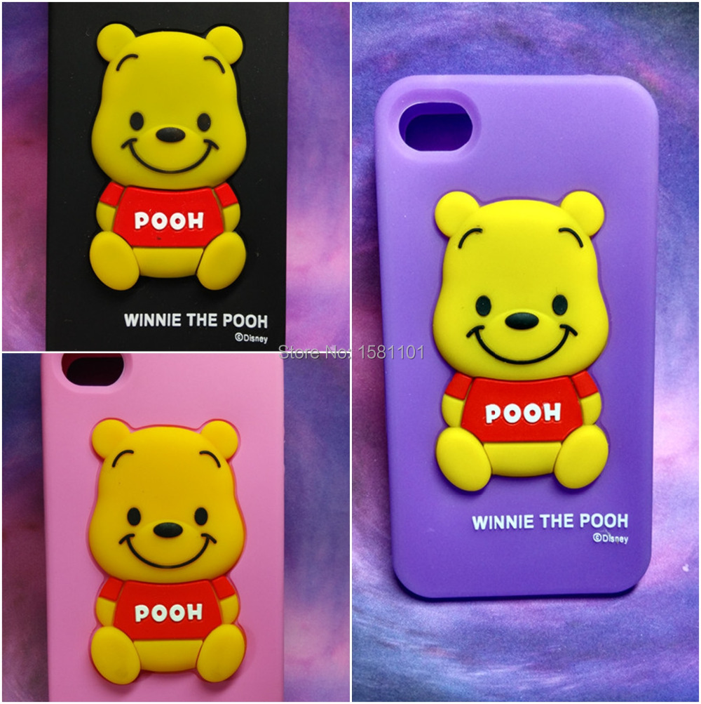 New 3D Catton Cute Winne the Pooh Soft Tpu Case for iphone4 4S 4G Lovely Animal Mobile Phone Bags with Free Screen Protector(China (Mainland))