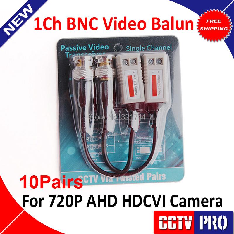 10Pairs 200M Range For HDCVI/AHD/TVI camera Twisted BNC CCTV Video Balun Passive Transceivers UTP Balun BNC Cat5 CCTV UTP(China (Mainland))