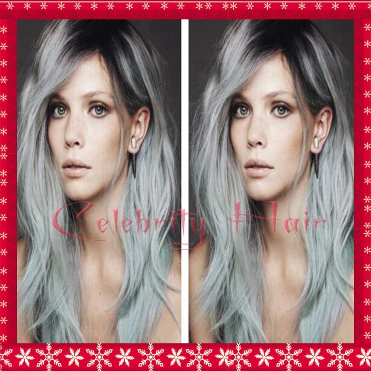 Two style hair 12-26inch 150% density synthetic hair lace front wig for black woman free part ombre 1b#/grey two tone hair wig <br><br>Aliexpress