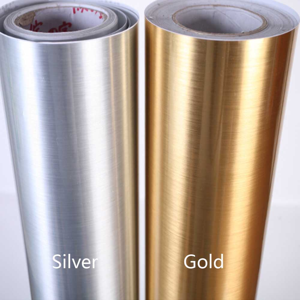 Silver self adhesive wall paper furniture film kitchen for Gold self adhesive wallpaper
