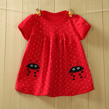 baby girl clothes girls dress embroidery cotton clothing lovely red dot ladybird dresses new spring and summer dress #1084