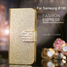 Luxury Bling Glitter Diamond PU Leather Flip Cover Case for Samsung Galaxy i8190 S3 Mini Case Wallet Stand S3 mini Fundas Cover(China (Mainland))