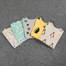 fashion 5 color multicolor 2pcs set 100% cotton pajamas baby care bottoming set sleep set 80-110(China (Mainland))