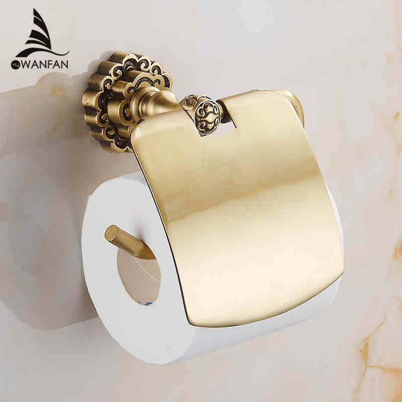 New Bathroom Toilet Paper Holder With Cover Antique Brass Roll Tissue Rack Carved Pattern Base Paper Shelf Wall Mounted 10708F(China (Mainland))