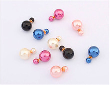 Aliexpress vintage fashion sterling silver jewelry Double Pearl channel Earrings Ear Studs earrings for women