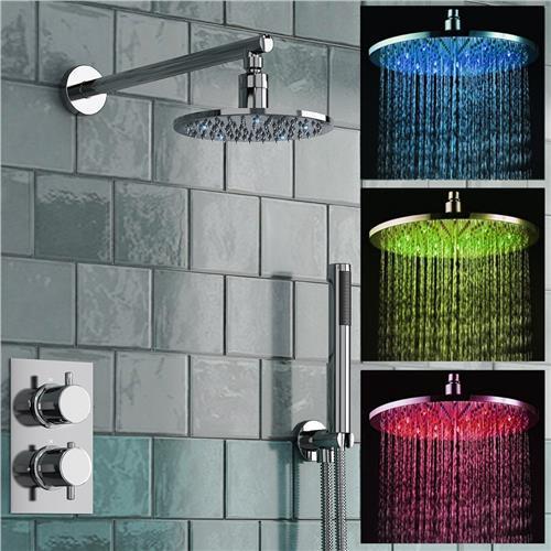 "8"" LED Rain Shower head set THERMOSTATIC ROUND MIXER SHOWER VALVE TAP SS158(China (Mainland))"