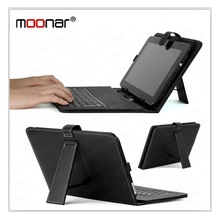 Black Portable USB Keyboard Faux Leather Case For 10 inch 10.2 inch Tablet PC