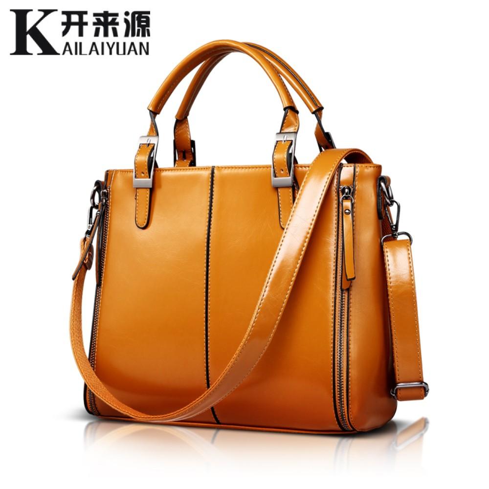 100% Genuine leather Women handbags 2016 New Fashion Handbag Brown Women Bag Vintage Messenger Bag Office Ladie Briefcase(China (Mainland))