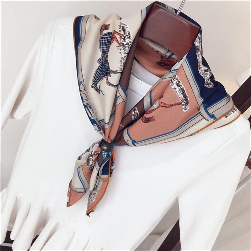 2017 Silk Square Scarf Brand Satin Scarves Polyester Shawl Hijab 70*70 Hijab Colors Bufandas Mujer Horse echarpe foulard(China (Mainland))