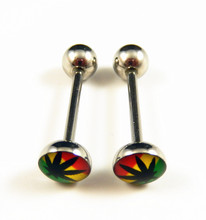 4Pcs/Lot Marijuana Cannabis Weed Leaf Stainless Steel Tongue Nipple Piercing Ring(China (Mainland))