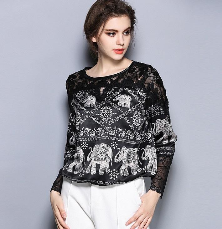2016 Autumn long sleeve elephant print silk shirts women office work wear OL black Silk top vintage blouse lace tops - Beautiful fable store