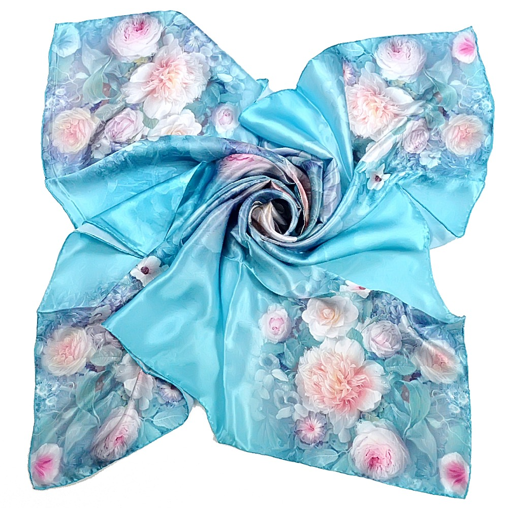 110*110cm Blue Women Pure Silk Scarf Hot Sale 100% Mulberry Silk Square Wraps Scarves Summer Female Air Conditioning Cape Scarf(China (Mainland))