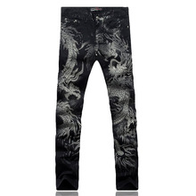 Men's fashion dragon print jeans Male colored drawing painted slim denim pants Elastic black long trousers Free shipping(China (Mainland))