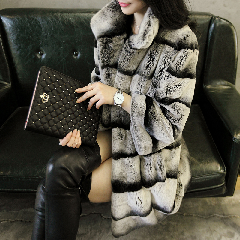Best Real Chinchilla Fur Coat For Women Genuine Rex Rabbit Fur Coats Woman Natural Fur Plus Size Thick Warm Fur Overcoat(China (Mainland))