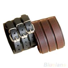 Punk Rock New 2 Layer Belt Men Genuine Cow Leather Bracelet 3 Buckle Wristband Cuff Bangle Hot Sale