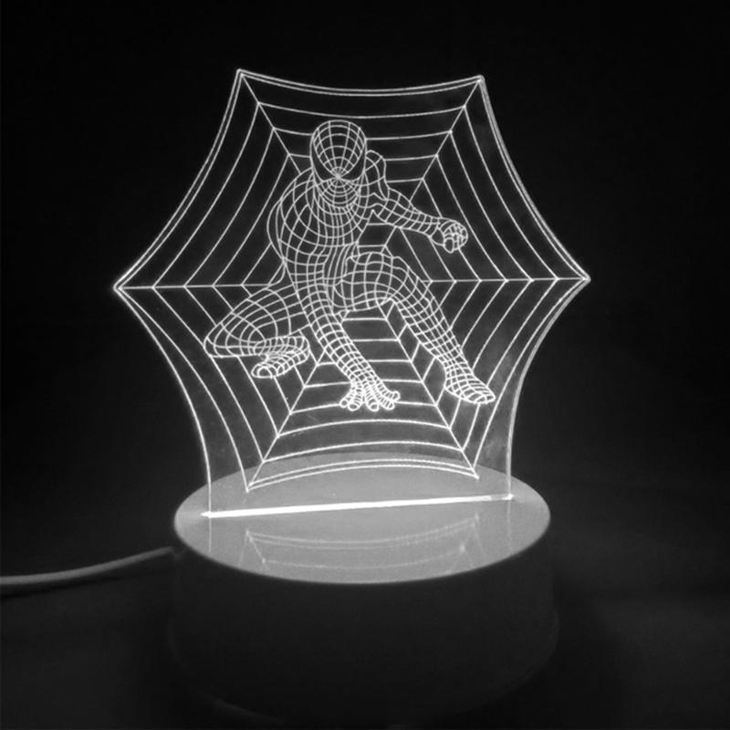 2016 Fashion Colorful/White Light Spider-Man 3D LED Lamp Night Bedside Remote Controller Birthday Gift P20 - Shenzhen Silutong Electronic Co., Ltd store